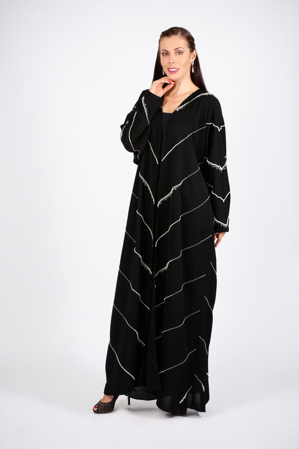 BLACK ABAYA W/WHITE PEARL ALL OVER