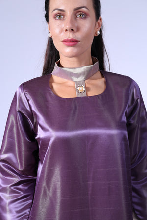 DUSTY PURPLE KAFTAN W GOLDEN FLORAL EMB ON BOTTOM HIGH NECK