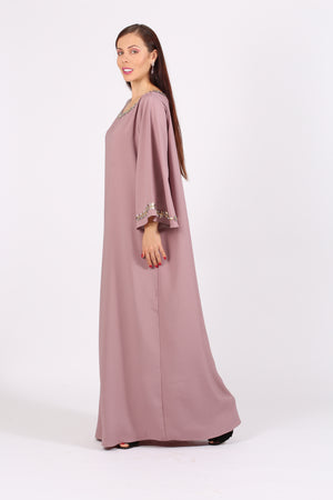 DUSTY PINK CREPE JALABIYA W/SILVER N GOLDEN EMB. ON CHEST N SLEEVES
