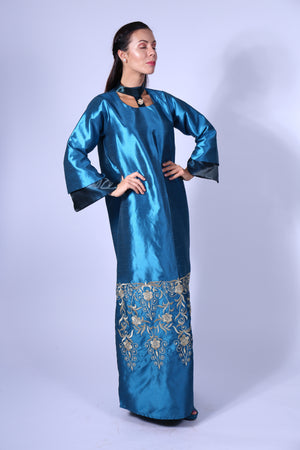 BLUE TURQUOISE KAFTAN W/GOLD FLORAL EMB. ON BOTTOM - HIGH NECK