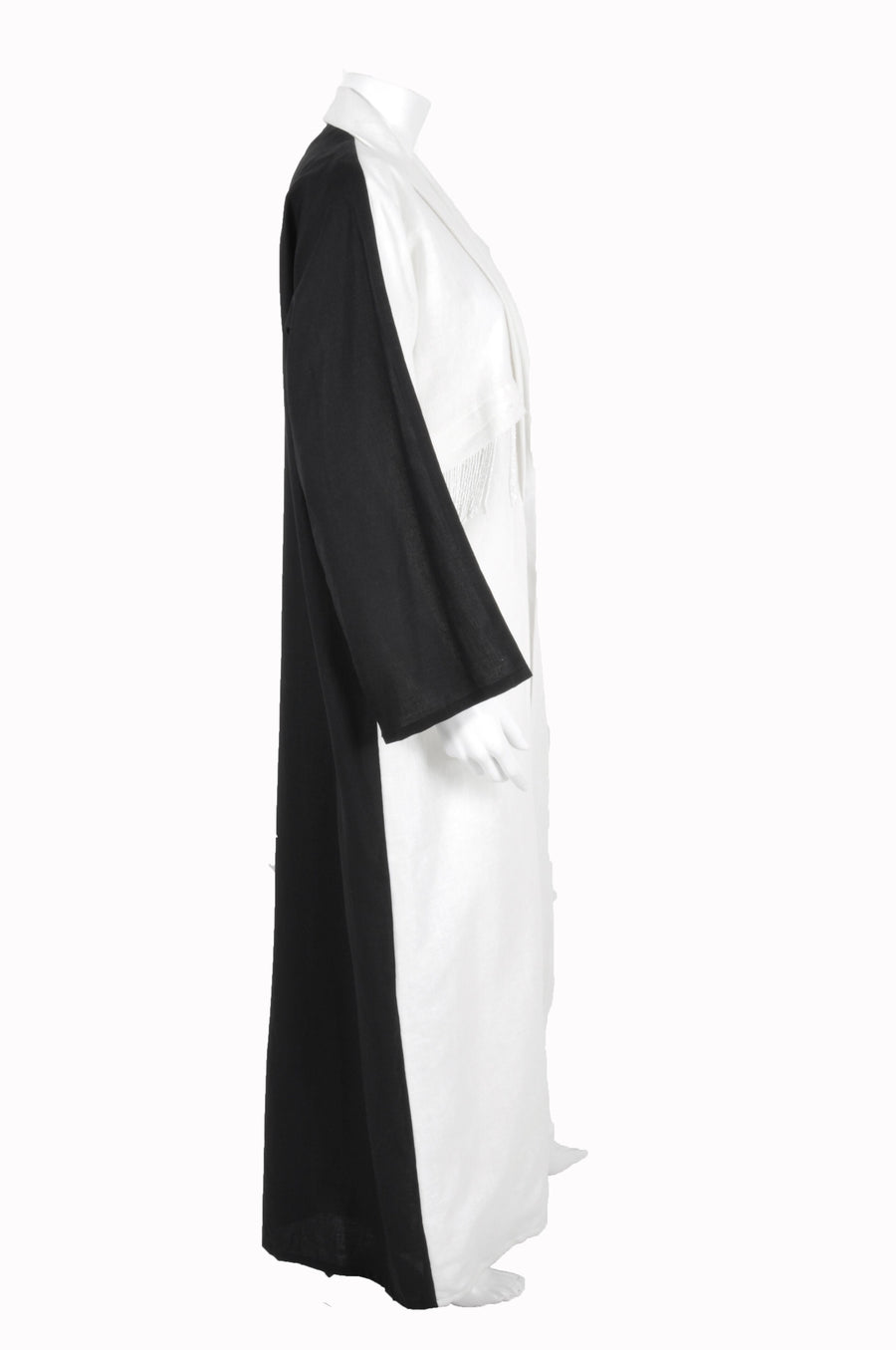 LINEN  ABAYA WITH HANGING BEADS