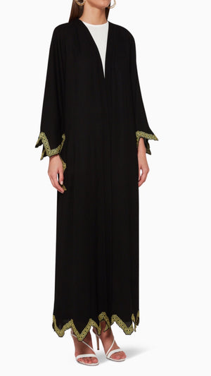BLACK ABAYA WITH ZIGZAG EMB GREEN & GOLDEN ON HANDS BOTTOM & POCKETS