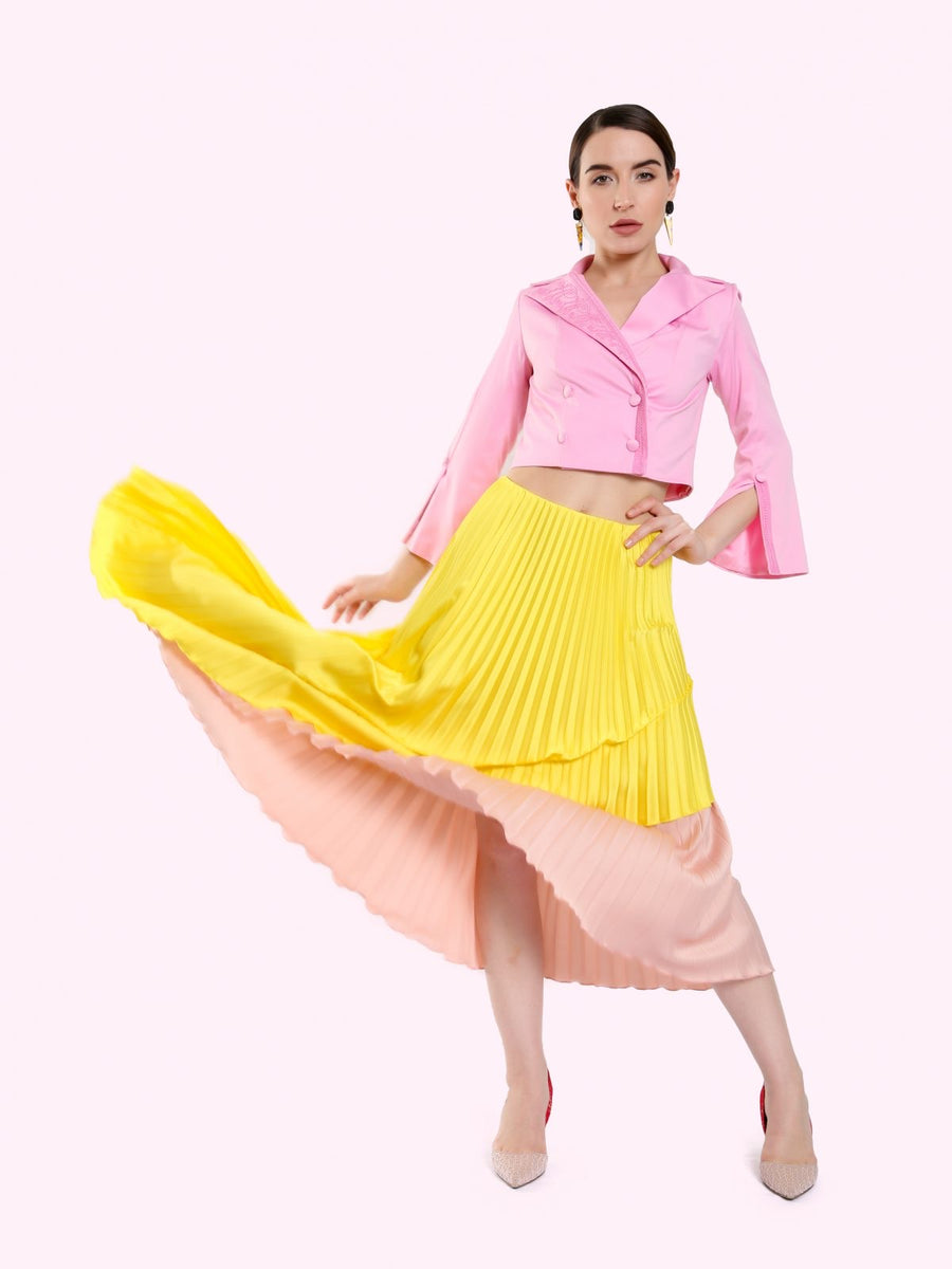 DUAL COLOR LAYERED SKIRT