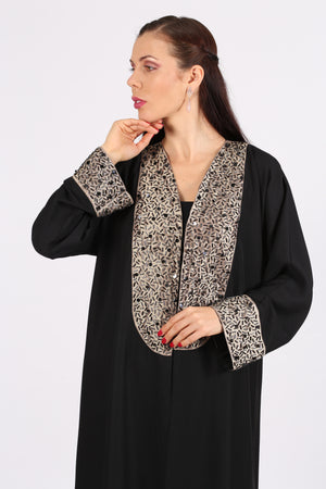 BLACK ABAYA - SCATTERED BLACK & SILVER BEADS ON GOLDEN FABRIC ON CHECT & HANDS