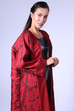 RED FLORAL BISHT WITH GREY INNER