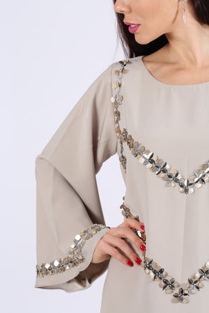 CDUSTY GOLDEN CREPE JALABIYA W/SILVER GOLDEN EMB. ON CHEST N SLEEVES