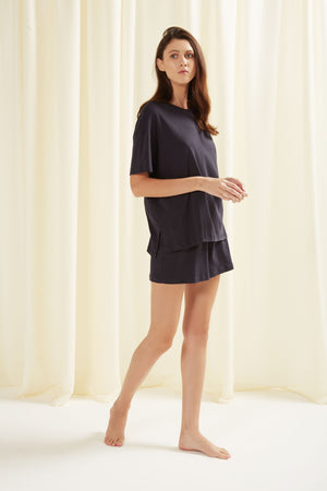 Women Indigo Pyjama Shorts Set