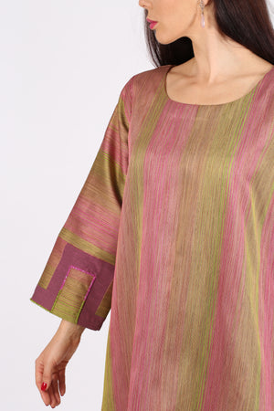 PINK & LEMON GREEN JELABIYA W/ SCATTERED SEQUENCE ON BOTTOM N SLEEVES