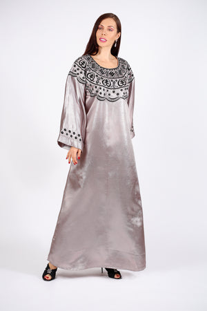 SILVER GREY KAFTAN W/EMB ON CHEST & HANDS - MIRROR