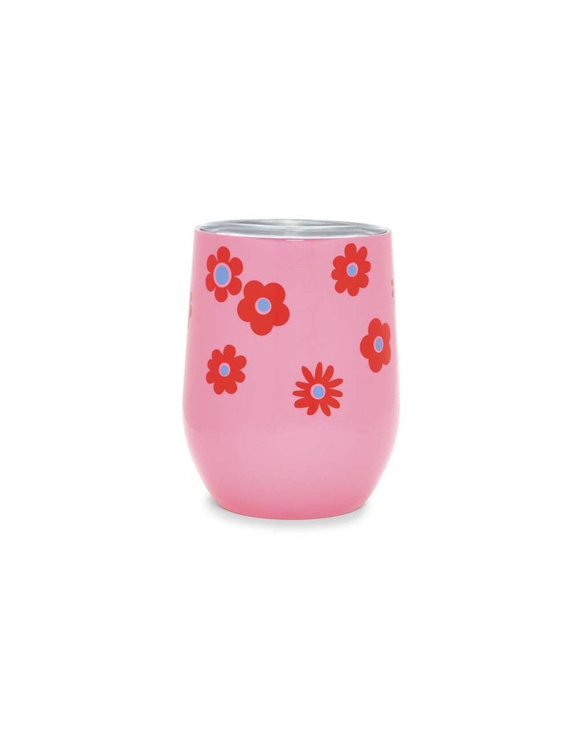 STAINLESS WINE GLASS W/LID,DAISY