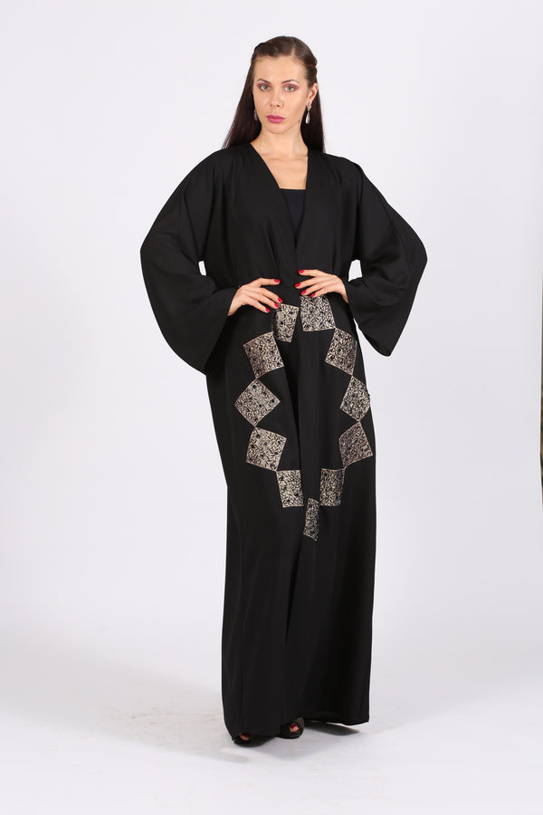 BLACK ABAYA  - SCATTERED BLACK & SILVER BEADS ON GOLD FABRIC- SQUARE SHAPES
