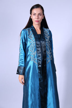 GREEN N BLUE TURQUOISE BISHT W/LEAVES EMB ON CHEST & HANDS W/INNR