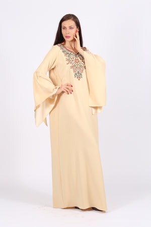 BEIGE JALABIYA W/ FLORAL N LEAVES EMB.ON CHEST