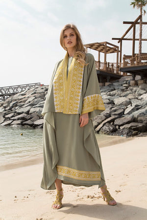 DRESS WITH BISHT 2PCS SET