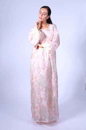 PEACH FLORAL KAFTAN W/ EMB ON SLEEVES