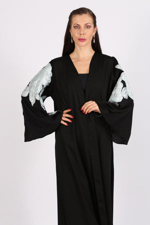 BLACK ABAYA - GREEN & SILVER FLOWER ON HANDS ONLY