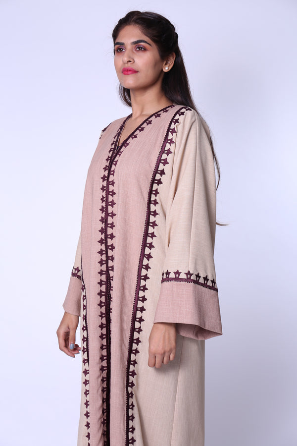 BEIGE & PINK W/PURPLE EMB. ON SIDES & SLEEVES