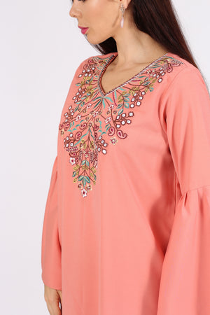 ORANGE JALABIYA W/ FLORAL N LEAVES EMB.ON CHEST