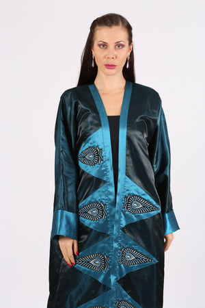 TURQUOISE & BLUE ABAYA W/ GOLD & BLACK LEAF IN FRONT