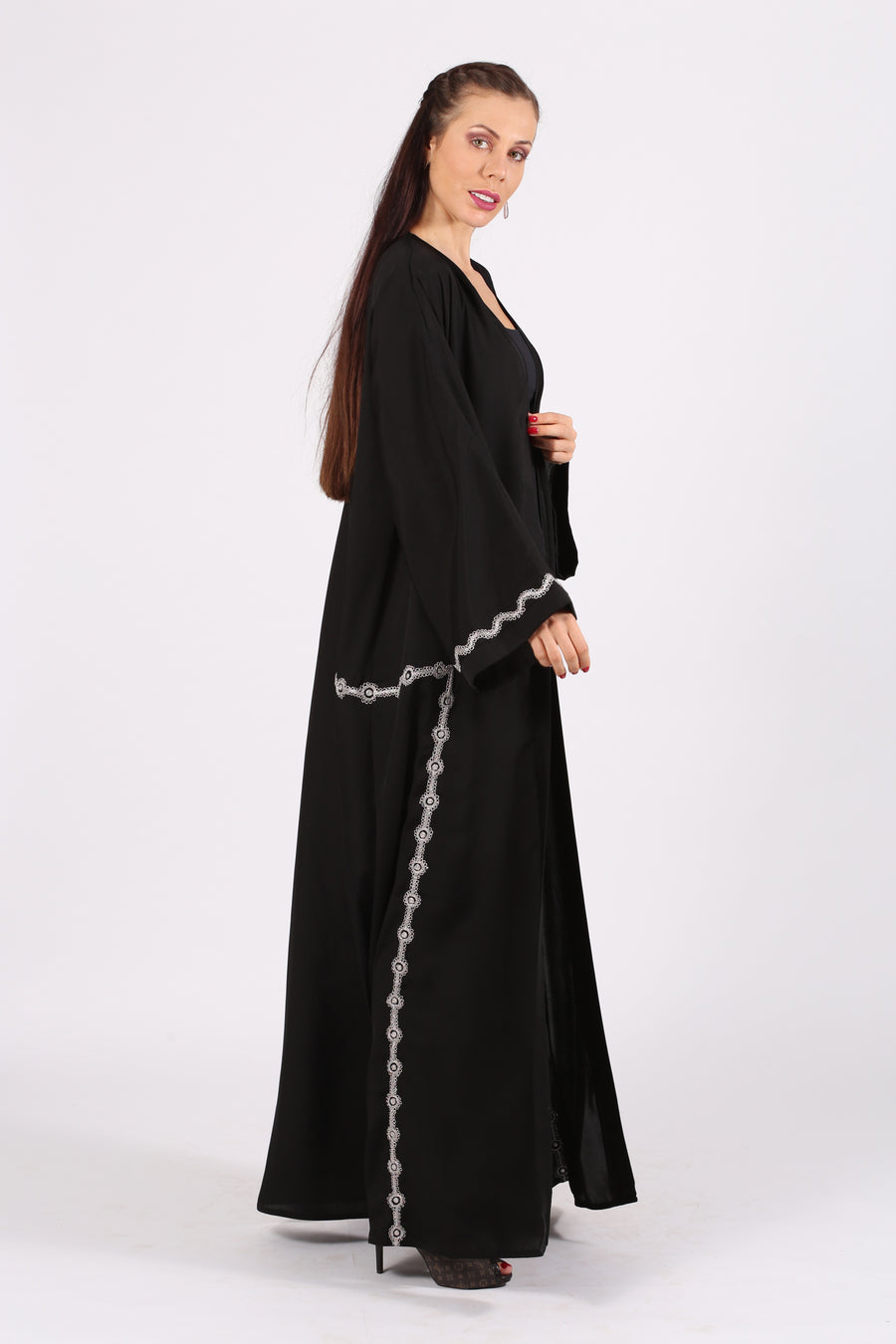 BLACK ABAYA  W/SILVER/ BLUE / PINK  CIRCLE EMB. ON BOTTOM & HANDS