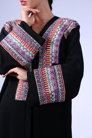 BLACK ABAYA W/ COLORFUL EMB. ON CHEST & SLEEVES
