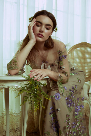 Nude Dress Long Sleeves Lilac Bee (Nephilim)