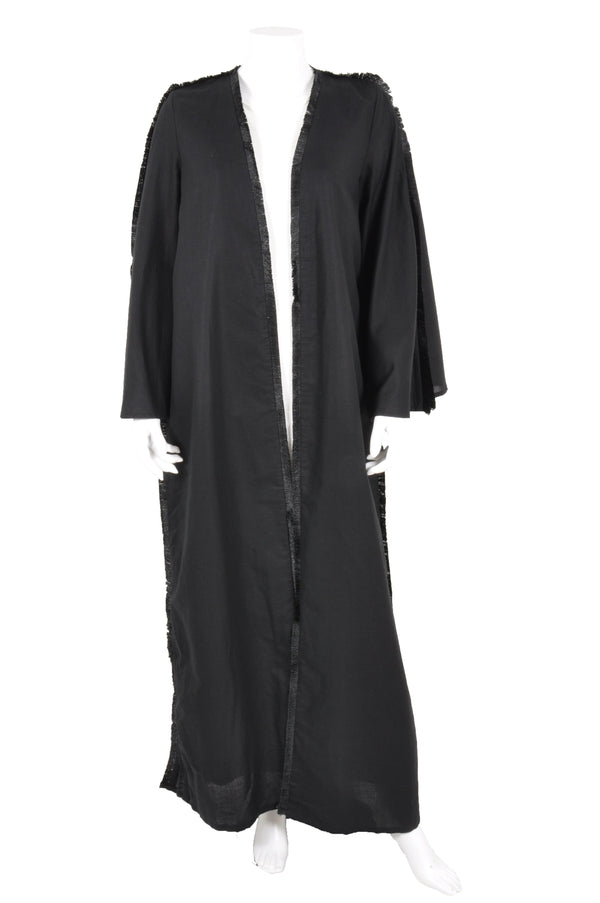 LINEN ABAYA WITH TASSEL PIPING