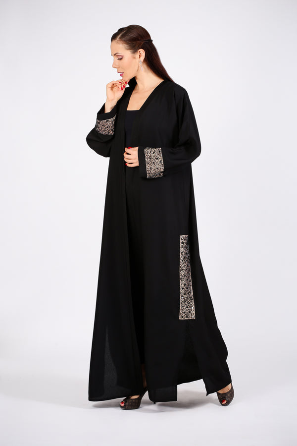 BLACK ABAYA - SCATTERED BLACK & SILVER BEADS ON GOLDEN FABRIC ON SLIT & HANDS