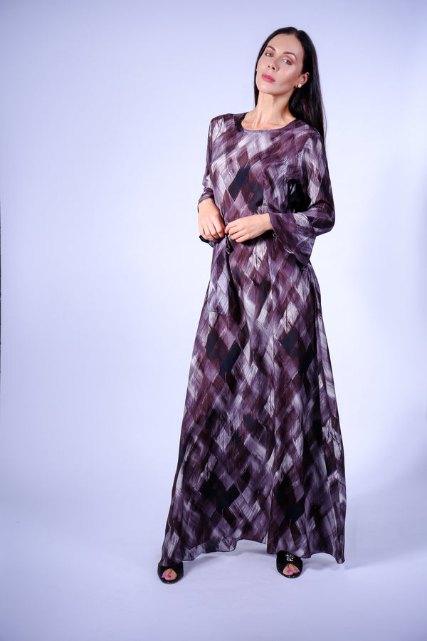 LONG SILK DRESS WITH BELT