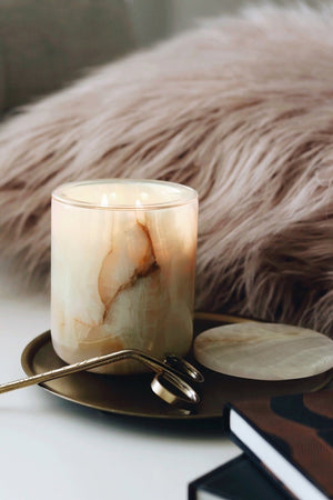 NATURAL ONYX CANDLE HOLDER