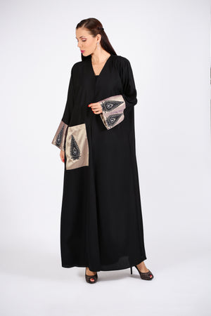 BLACK ABAYA - BLACK & GOLDEN LEAF ON HANDS & ONE ONE POCKET