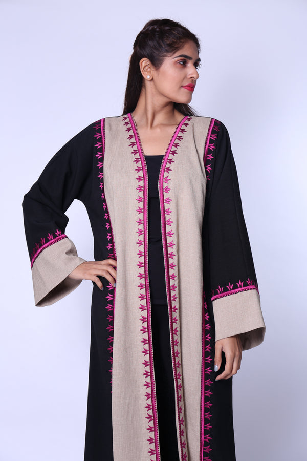 BLACK & BEIGE PINKISH EMB. ON SIDES & SLEEVES