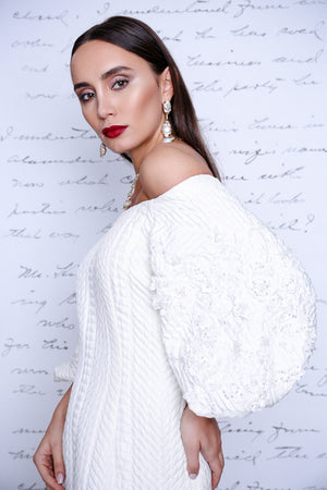 White off shoulder dress with white embroidery