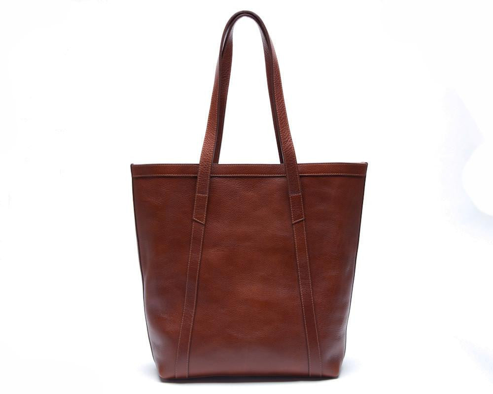 Lotuff Leather Angle Tote in chestnut