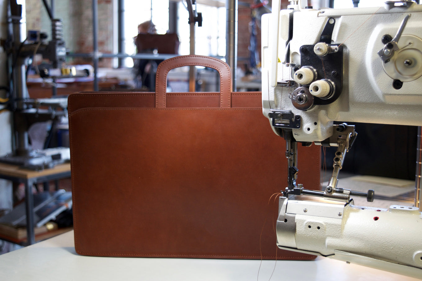 Lotuff Leather Wells Briefcase in cognac bridle leather