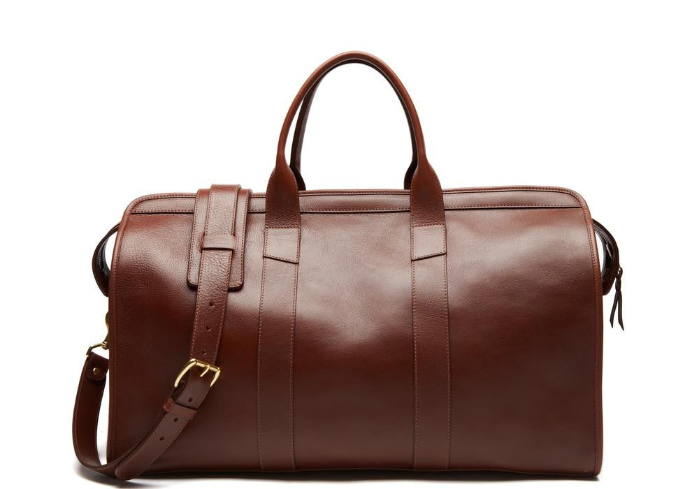 Lotuff Leather Duffle Travel Bag in chestnut