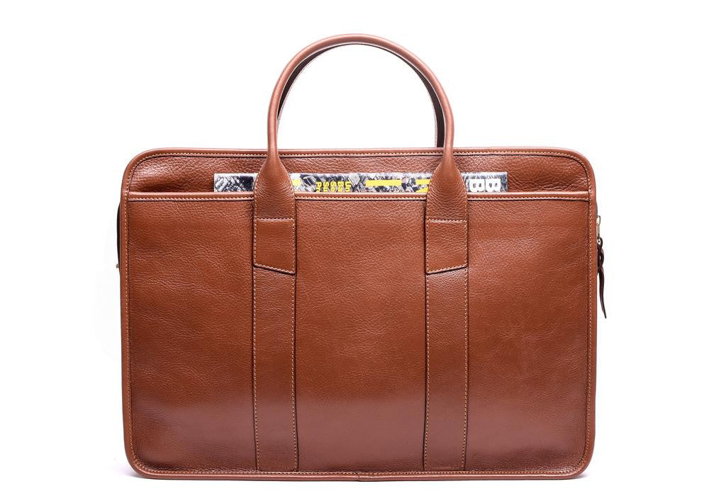 Lotuff Leather Zip-Top Briefcase in chestnut
