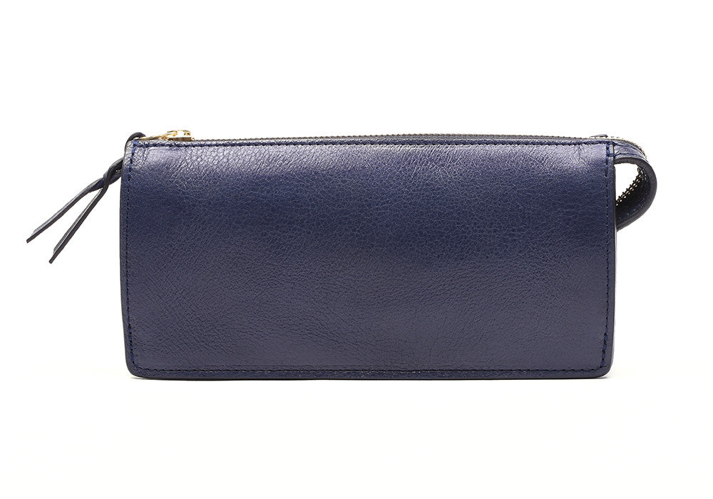 Front Leather View of Women's Leather Wallet Indigo