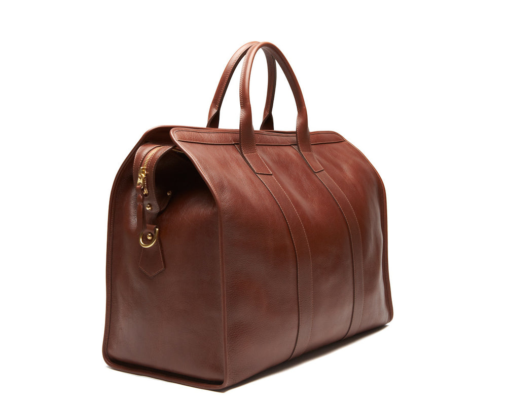 Front Side View of Leather Trunk Duffle Bag Chestnut