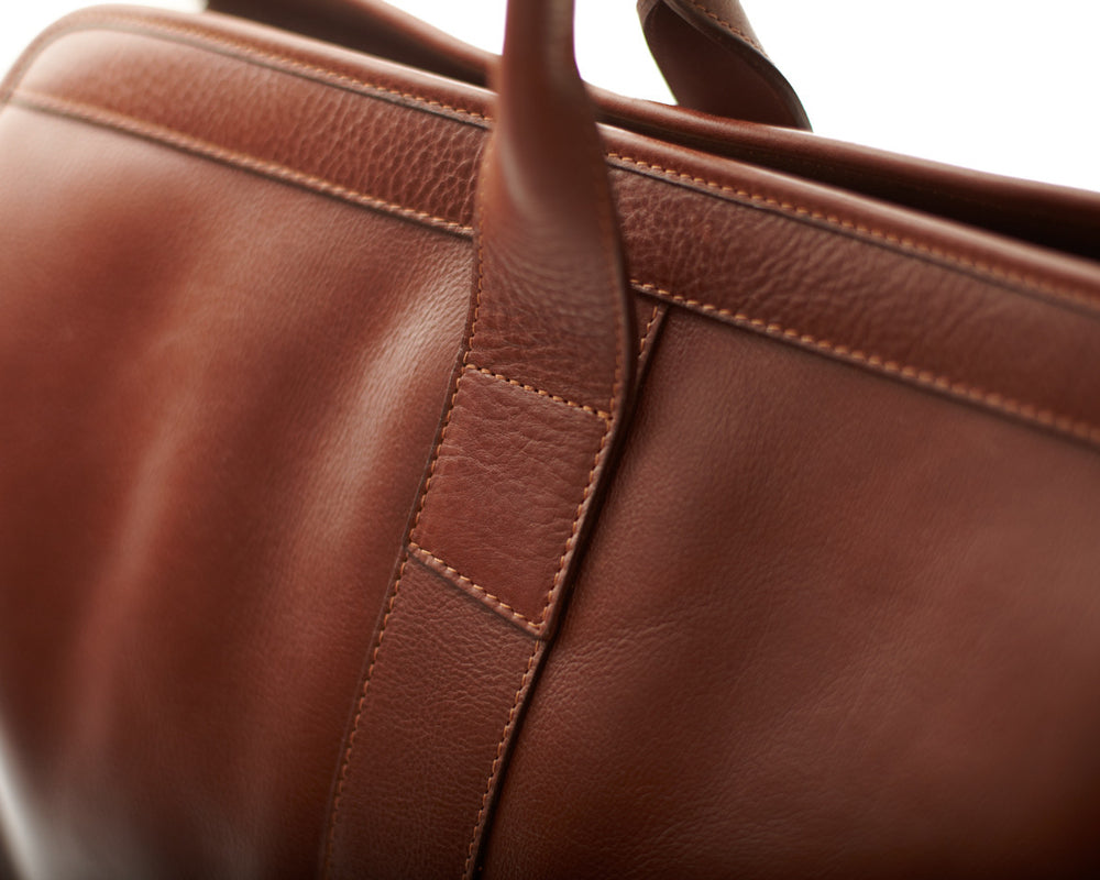 Back Close Up  of Leather Trunk Duffle Bag Chestnut