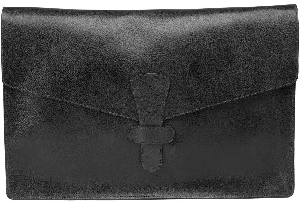 "Closed Front View of 15"" Leather Folder Organizer Black"