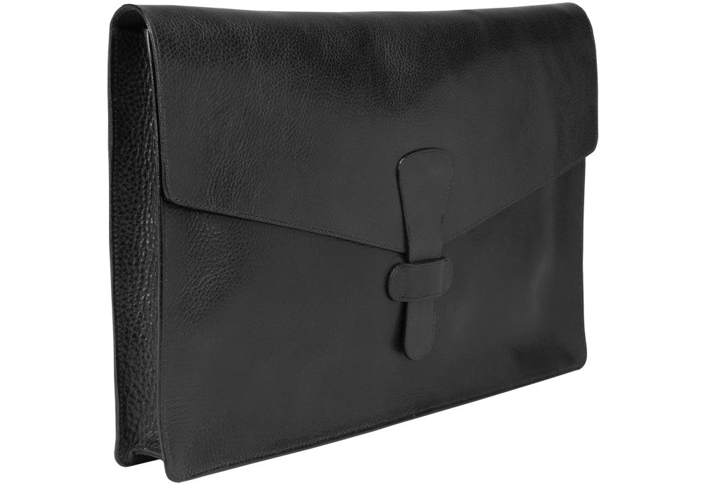 "Closed Side View of 15"" Leather Folder Organizer Black"