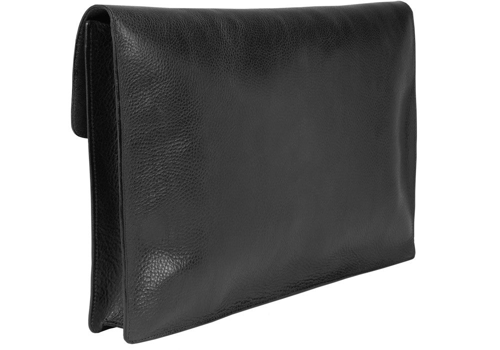 "Closed Back View of 15"" Leather Folder Organizer Black"
