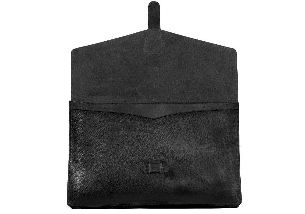 "Front Open View of 15"" Leather Folder Organizer Black"