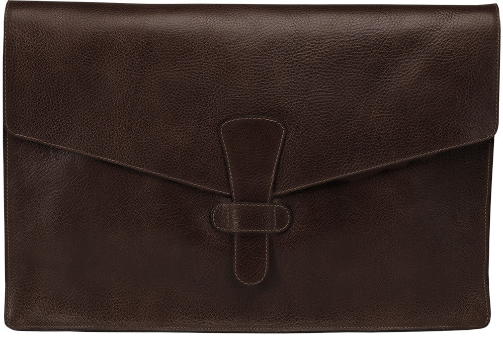 "Back View Closed of 15"" Leather Folder Organizer Chocolate"