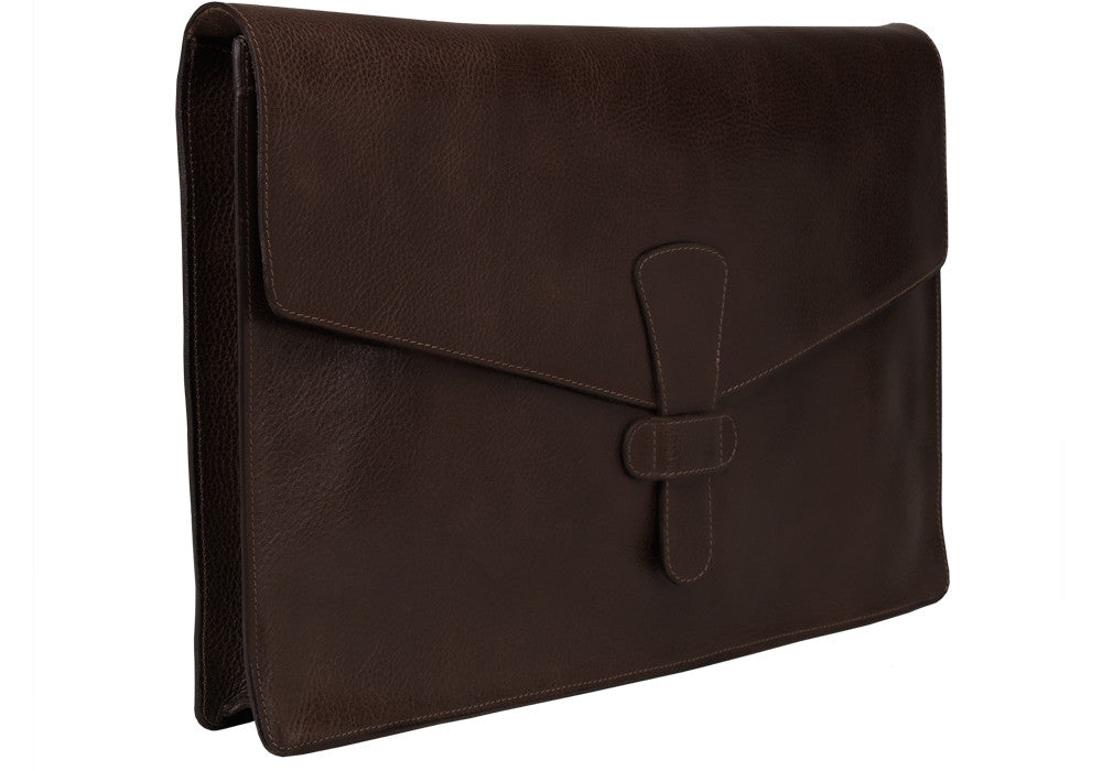 "Side View Closed of 15"" Leather Folder Organizer Chocolate"