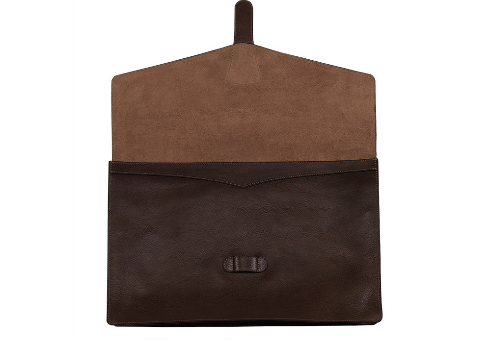 "Front View Open of 15"" Leather Folder Organizer Chocolate"