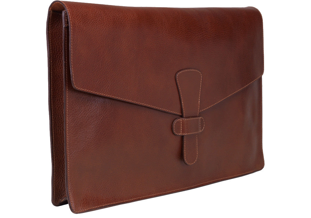 "Front View Closed of 15"" Leather Folder Organizer Chestnut"
