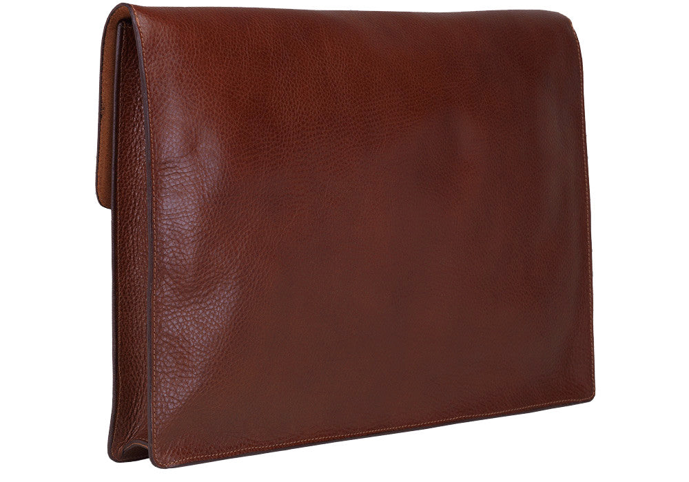 "Side View Closed of 15"" Leather Folder Organizer Chestnut"