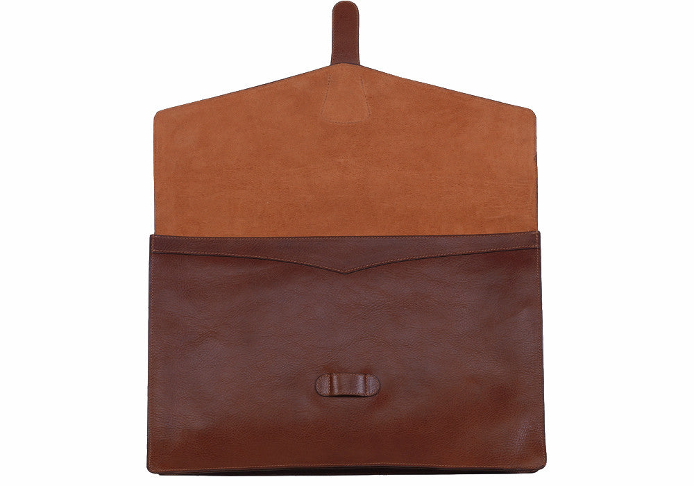 "Front View Open of 15"" Leather Folder Organizer Chestnut"